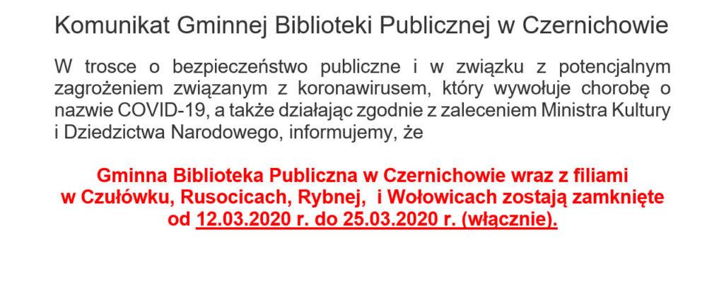 Komunikat Gminnej Biblioteki Publicznej w Czernichowie